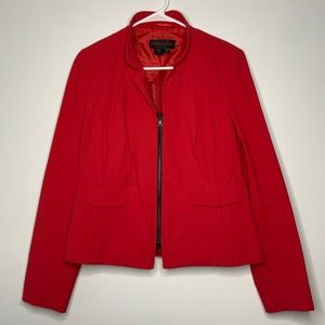 Nina Mclemore Red Zip Front Canvas Business Jacket